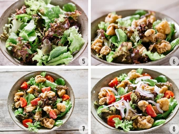4 photo collage of assembling salad leaves, karaage chicken and garnishes