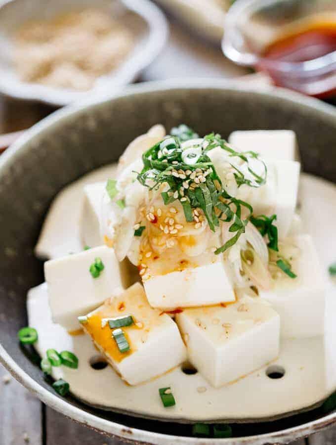 chilled tofu Hiyayakko served on a round shallow plate