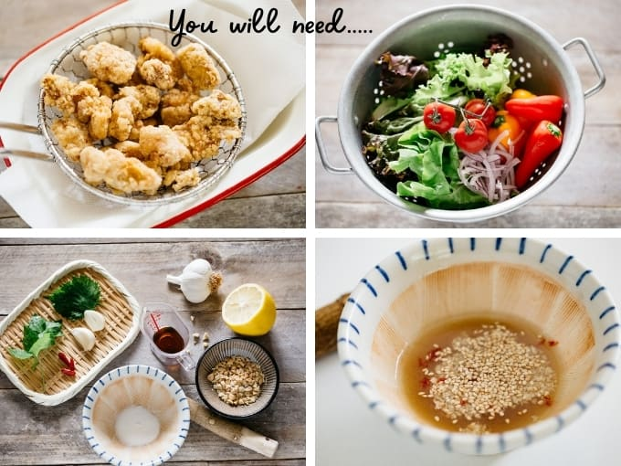 4 images of Japanese fried chicken, green salad leave and tomatoes, dressing and garnish ingredients with text overlay