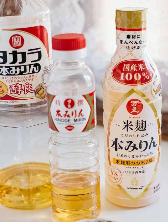three hon mirin bottles of different brand on kitchen bench