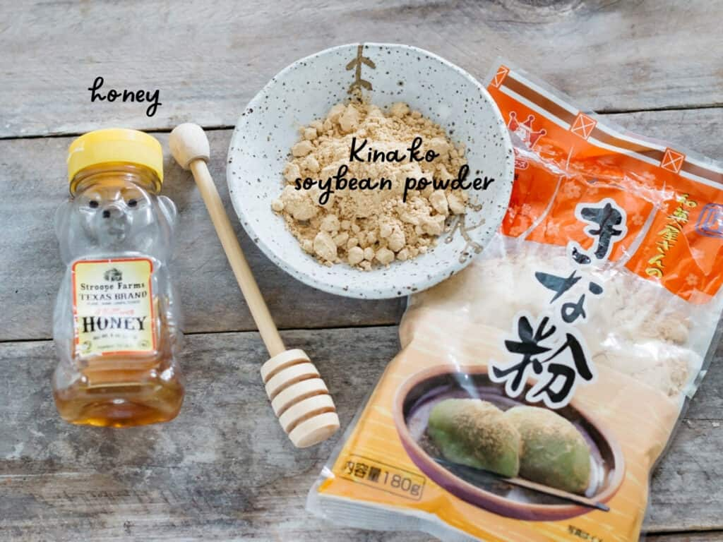 honey, kinako soybeans in a small bowl, and a packet