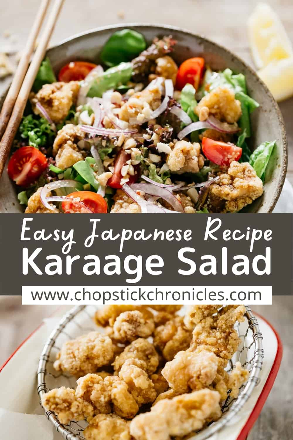 Two karaage salad images collaged with text overlay for pinterest