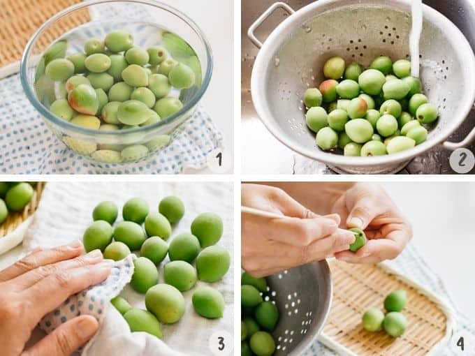 4 photo collage of soaking and washing ume plum fruits and preparing it.