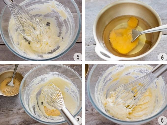 4 photo collage of making matcha batter process
