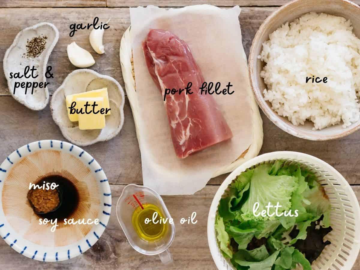 pork fillet, rice, butter, garlic cloves, lettuce leaves, olive oil, miso paste, soy sauce, salt and pepper