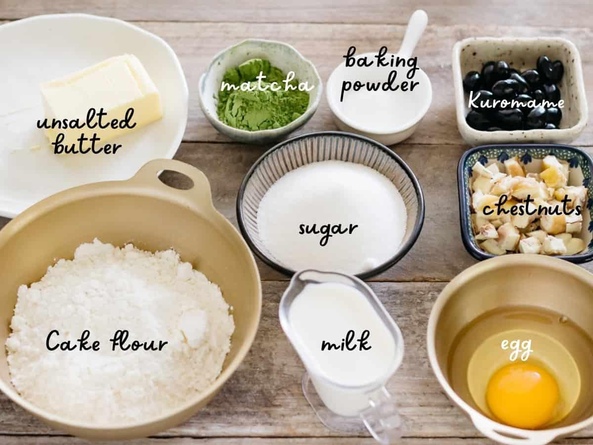 unsalted butter, matcha powder, sugar, milk, egg, baking powder, kuromame, chestnuts