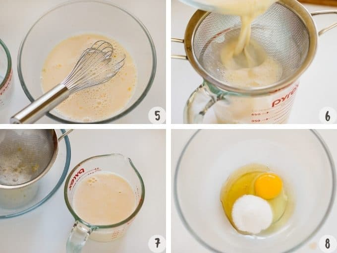 4 photo collage of combining custard pudding ingredients and straining it