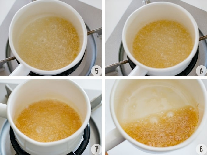How to make caramel sauce step by step photos showing the caramel changing its colour in 4 photos