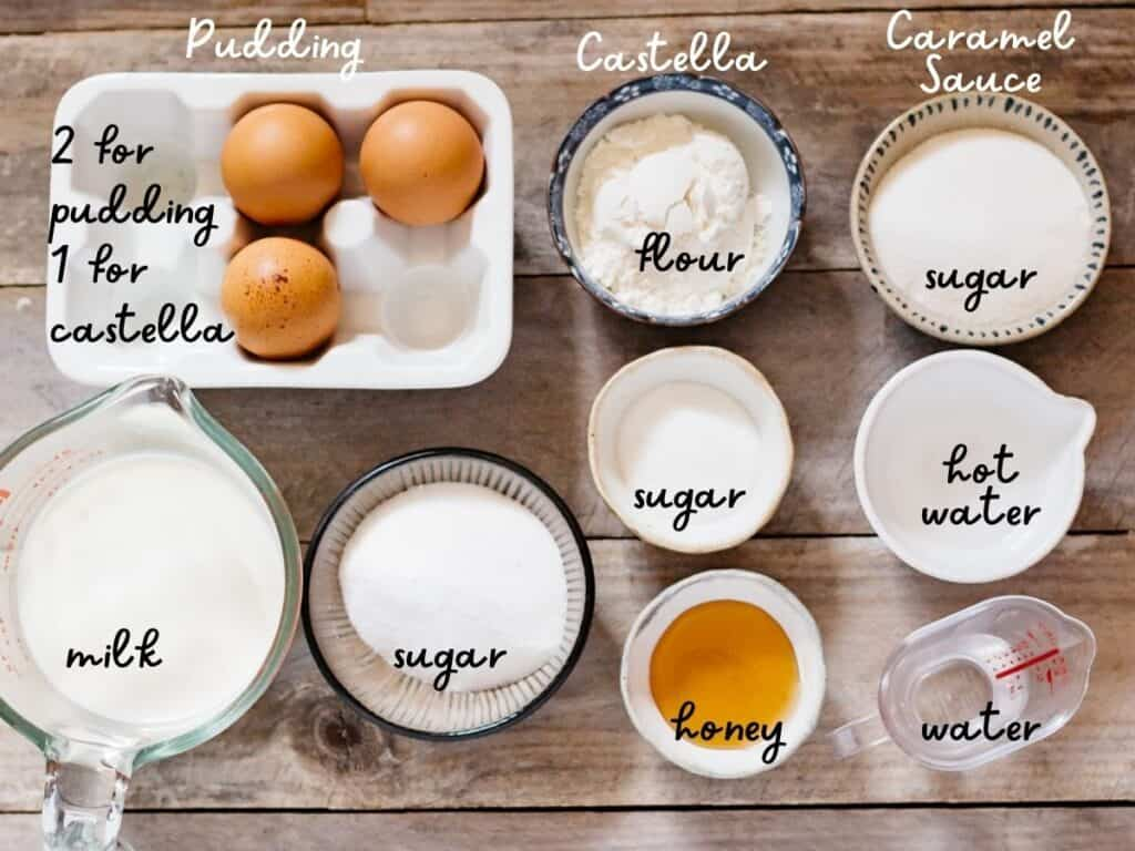 sugar, water, flour, honey, milk and three eggs on the kitchen bench
