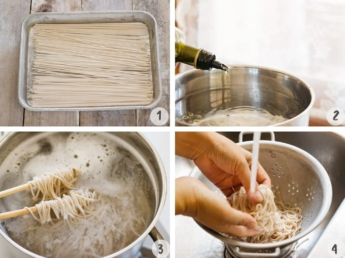4 photo collage showing the process of cooking soba noodles