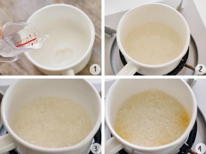 4 photo collage of how to make caramel sauce, combining sugar and amount over medium heat