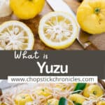 yuzu fruits image collage for pinterest pin with text overlay