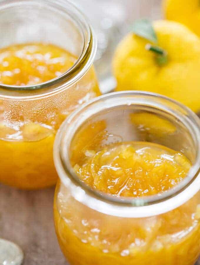 two yuzu marmalade in preserving glasses