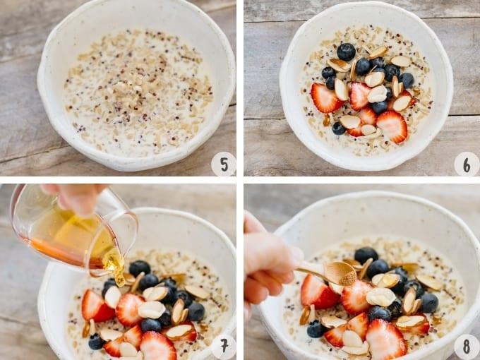 4 process photos collage of brown rice and quinoa porridge