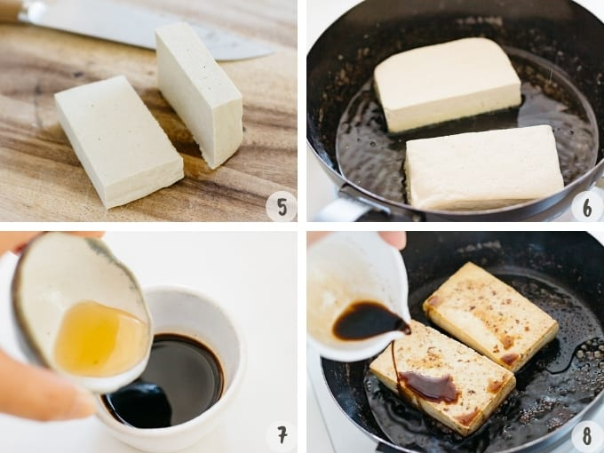 a four images collage of making tofu steak process