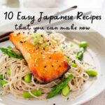 miso glazed salmon served on soba noodles with text overlay