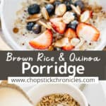 two porridge images collage with text overlay for pinterest