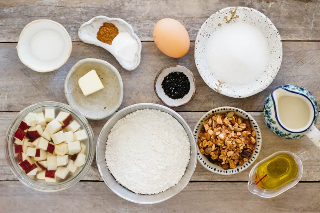 sweet potato cubes sugar, butter, a egg, flour, granola, milk, oil and cinnamon and black sesame seeds