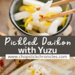 2 pickled daikon images collaged for pinterest pin with text overlay